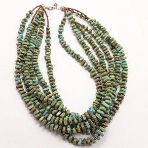 Silpada Multi Strand Green Turquoise Natural Stone